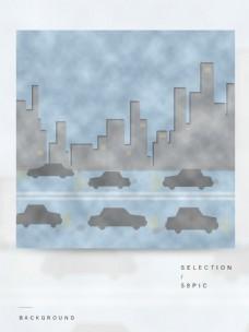原创简约空气污染白色雾霾背景