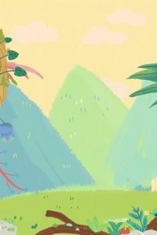 卡通漂亮的森林免抠图