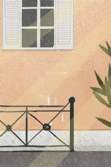 卡通窗户和植物免抠图
