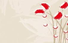 手绘抽象红色花卉