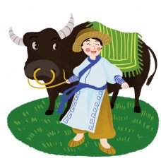 春天牵牛的牧童人物形象