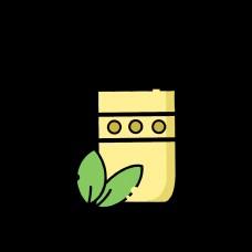 黄色水杯绿叶设计图