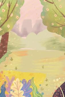卡通绿色大森林免抠图