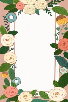 春天花卉甜甜圈边框