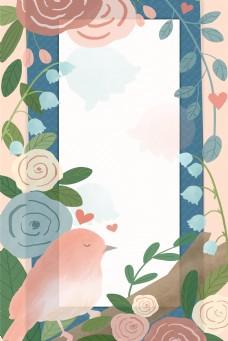 春天小清新花朵小鸟底纹背景