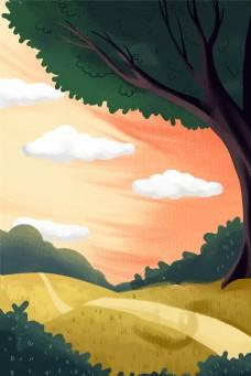 白云树木乡村田园唯美梦幻自然风光图