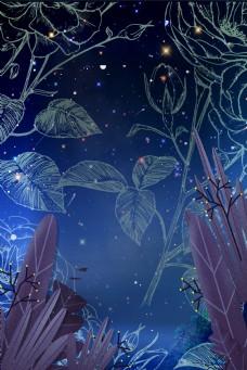 深夜花叶暗纹背景图