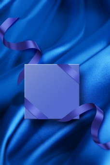 蓝色丝绸丝质礼品盒背景