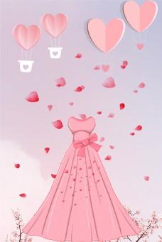 折纸风格婚博会海报背景图