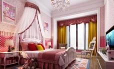 粉色儿童房效果图卧室3D模型