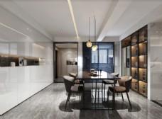 现代简约餐厅效果图3D模型
