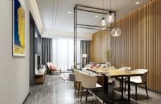 现代简约客餐厅效果图3D模型