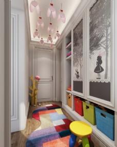 儿童房衣帽间3D模型效果图