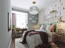 公主房儿童房卧室效果图3D模型