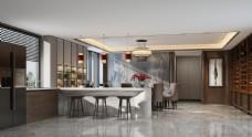 现代轻奢餐厅效果图3D模型