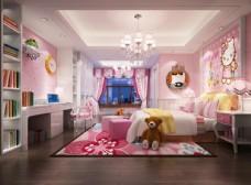 Katie猫粉色儿童房效果图