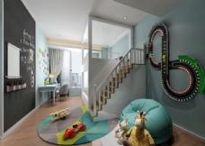温馨男孩房卧室效果图3D模型