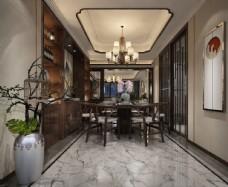 新中式餐厅效果图3D模型