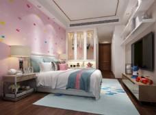 粉色女儿房儿童房效果图3D模型