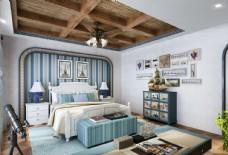 地中海风格儿童房卧室效果图3D