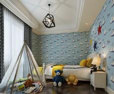 卧室男孩房卧室效果图3D模型