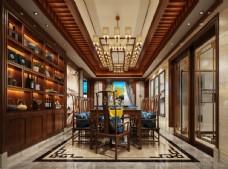 中式餐厅效果图3D模型酒柜