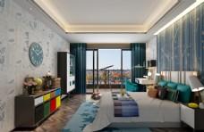 现代男孩房地中海效果图3D模型