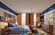 儿童房男孩房卧室效果图3D模型