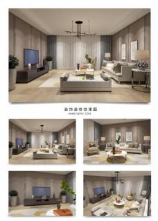 现代暖色系温馨舒适客厅空间模型