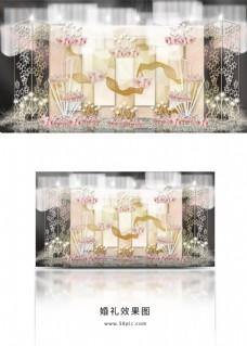 香槟色层叠几何板材星星屏风婚礼效果图