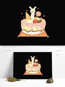卡通兔子糖果棉花糖蛋糕甜品棒棒糖生日快乐