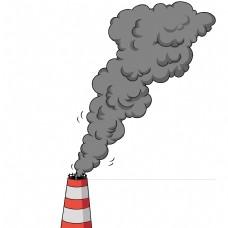 烟雾灰色卡通扁平工业污染