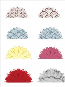 中国风扇形装饰物免扣素材