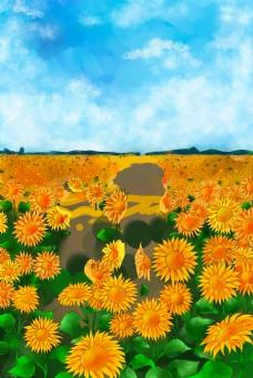 卡通秋天向日葵下载