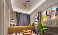 现代简约儿童房效果图3D模型