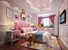 粉色公主房效果图3D模型