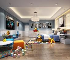 现代儿童房效果图3D模型
