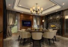 现代餐厅效果图3D模型