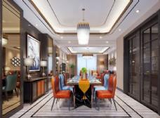 现代轻奢客餐厅效果图3D模型
