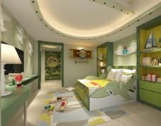 简约绿色儿童房效果图3D模型
