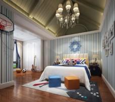 地中海风格卧室儿童房效果图3D