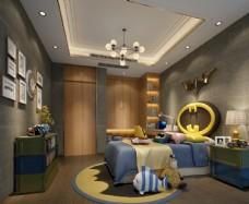 现代简约儿童房卧室效果图模型