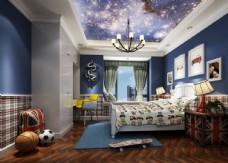 美式男孩房儿童房效果图3D模型