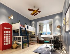 现代男孩房卧室效果图3D模型