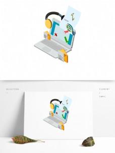 电脑耳机装饰图标元素
