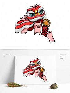 手绘卡通舞狮小猪装饰素材