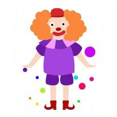 矢量卡通免扣紫色小丑
