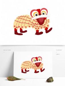 手绘卡通舞狮装饰素材
