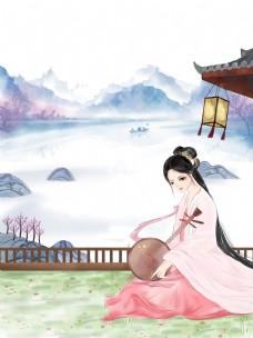 中国风蓝色乐器琵琶美女背景
