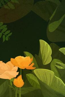 深色春天植物背景